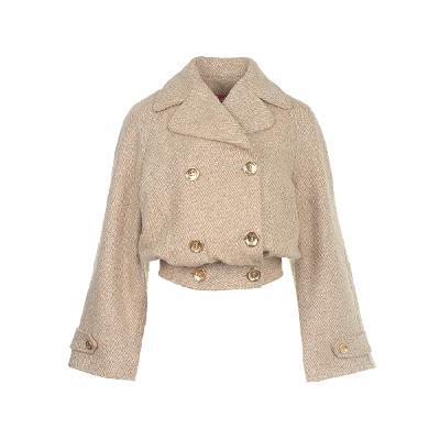 button point crop jacket beige